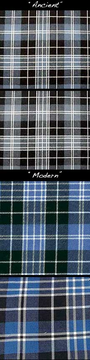 Images of Clark tartan with color variation of both hue and value.
